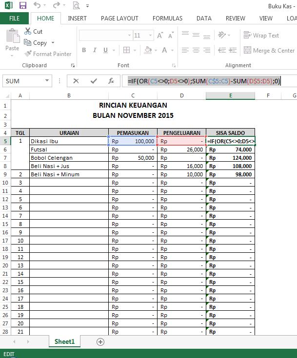 Cara Membuat Aplikasi Buku Kas Pada Microsoft Excel Newbie 26 Inside